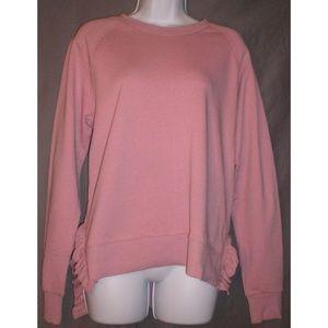 Dusty Rose Sweatshirt with Side Ruffle